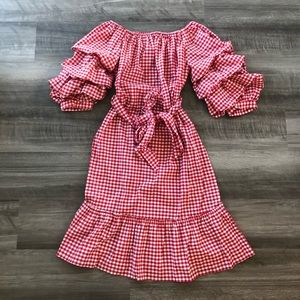 Who What Wear Red Gingham Off Shoulder Dress M NWT
